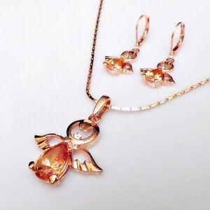 Süßes Engel Kristall Schmuck - Set Ohrhänger Anhänger mit Kette vergoldet