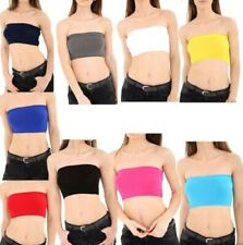 Womens Plain Boob Tube Strapless Bandeau Stretch Vest Bra Crop Top