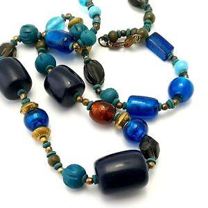 Boho Long Blue Bead Necklace Glass Bead Lagenlook  Jewellery LDADPR brand
