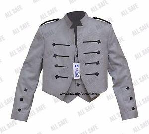 Scottish/Irish Kyle Grey Kilt Jacket With Waistcoat/Vest - Sizes 36''- 54''