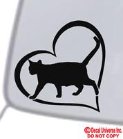 CAT HEART Vinyl Decal Sticker Car Window Wall Bumper Animal Adopt Paw Love Pet