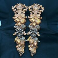 Syroco Wall  Plaques MCM 2 Vintage Fruit Nut 3D Décor Hangings Wood Tone