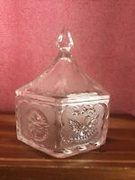 Vintage Indiana Tiara Hexagonal Eagle & Stars Colonial Candy Dish & Lid Clear VG