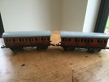 Early c1930 2 LMS Carriages Clockwork Toy Train O Gauge Locomotive BING COACHES
