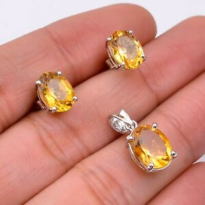 Natural Citrine 925 Solid Silver Women Stud Earrings & Pendant Jewelry Set