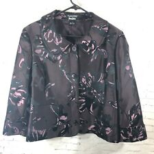 Ellen Tracy Exclusively for Neiman Marcus Purple Pink Floral Blazer Women Sz 14