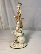 Enesco Jim Shore Heartwood Creek White Woodland Snowman Stacked Figurine 13.1�