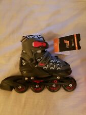 unisex adjustable kids inline skates size 13J-9 gray with red; new in box