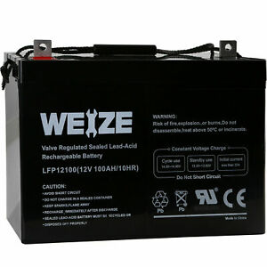 Weize 12V 100AH 100 Amp Hour Sealed AGM Deep Cycle SLA Battery Solar RV Off Grid