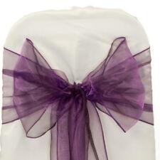 Organza Chair Sash Bows For Wedding Banquet Party Decor Events - Dark Purple 25