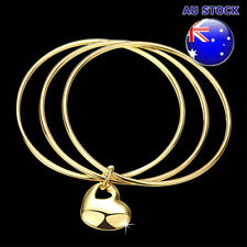 Wholesale 18K Yellow Gold Filled 3 Hoops Solid Love Heart Charm Bracelet Bangle