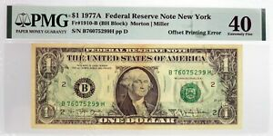 Series Of 1977 A $1 FRN New York Fr#1910-B Offset Printing Error Note PMG XF40