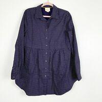 Anthropologie Maeve Navy Polka Dot Long Sleeve Tunic Blouse Collared Button Down