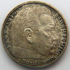 Nazi Germany 1935 RM5 Five Reichsmark Reichs Mark Deutschemark Hindenburg Silver
