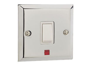British General Chrome Single Light Switch With Neon Light 1 Gang 20AMP NEW