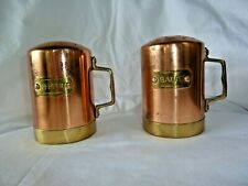 COPPER SALT & PEPPER SHAKERS WITH BRASS LABELS