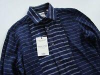 Nwt Murano Baird McNutt 100% Linen Navy Blue Striped Slim Fit Long Sleeve Shirt