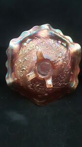 """ANTIQUE MARIGOLD CARNIVAL GLASS BOWL WITH 4 FEET BY SOURBY """"THISTLE & THORN"""""""