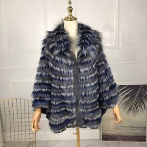 Womens Coats Fur Cape batwing sleeves jacket sliver fox fur shawl Poncho