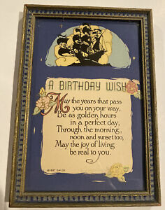 Antique 1927 Gibson Motto  Poem Print A BIRTHDAY WISH