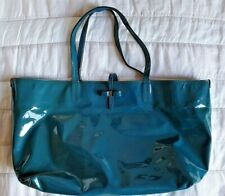 Authentic Salvatore Ferragamo blue patent leather handheld bag