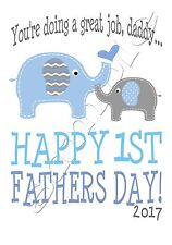 Iron on Transfer HAPPY FIRST 1ST FATHERS DAY BLUE BOY elephant maternity 11x15