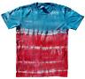 Blue & Red TIE DYE T SHIRT Fashion Tye Die Tshirt Festival Rainbow Retro Tee
