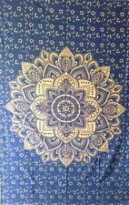 Ombre Mandala Black Gold Twin Tapestry Cotton Bedcover Hanging Wall Beautiful