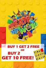 SAINSBURYS LEGO CREATE THE WORLD INDIVIDUAL CARDS BUY 2 GET 10 FREE CHOOSE