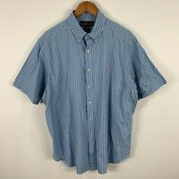 Ralph Lauren Mens Button Up Shirt XL Blue Plaid Short Sleeve Collared