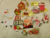 Lot of 14 Vintage Flat Wood Christmas Ornaments