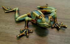 "Golden Pond Collection - Ceramic Green & Brown Frog - 6"" Longest Side - No Box"