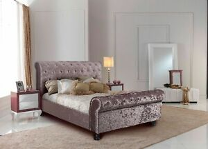 4FT Small Double Rose Gold Crushed Velvet Sleigh Bed 99p No Reserve