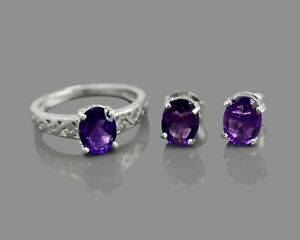 925 Sterling Silver Natural Amethyst Gemstone Oval Cut Ring Earring Jewelry Set