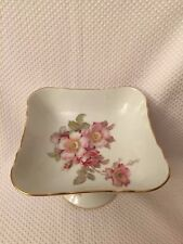 Schumann Compote Footed Bowl Arzberg Germany Porcelain Wild Rose Flowers