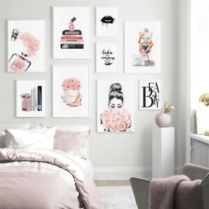 Fashion Canvas Poster Perfume Book Lips Wall Art Picture Beauty Salon Decoration