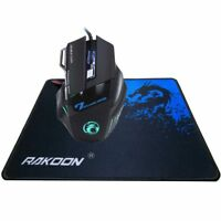 Multi Colour LED Optical USB Wired Gaming Mouse Large Gaming Pad 5500 7 Button