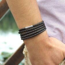 Faux Leather Braided Rope Bracelet Wristband Mens  Black Bangle Cuff Gift