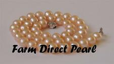 "18"" Inch AAA 7-8mm ROUND Peach Pearl Strand Necklace Genuine Cultured Freshwater"