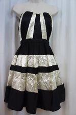 Betsy & Adam Dress Sz 10 Black Chrome Strapless Cocktail Evening Dress A15909