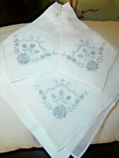 THREE VINTAGE WHITE COTTON EMBROIDERY & LACE LADIES HANDKERCHIEFS ~ SWITZERLAND