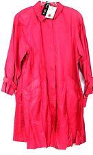VTG 1980s NOS Count Romi Silk TrenchCoat Hot Pink SZ 10 Swing Coat Big Shoulders