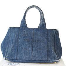 Authentic PRADA MILANO Canapa Tote Hand Bag Denim Leather Blue Italy 02EX543