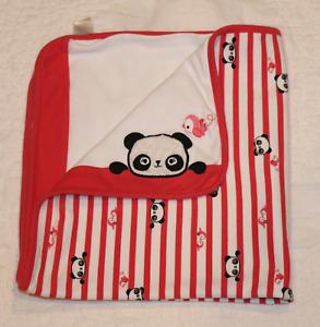 GYMBOREE Panda Bear BABY BLANKET reversible striped