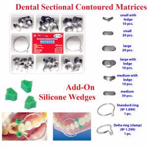 40Pcs Add-On Wedge+100Pcs/Set Dental Sectional Contoured Matrices Matrix Ring De