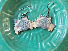 *Hand Crafted Impressed Painted Leather Women's Dangle Earrings- Cat Design