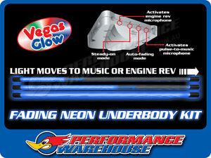 VEGAS GLOW REDLINE FADING NEON UNDERBODY KIT BLUE SHOW MUSIC