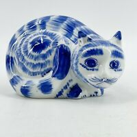 Vintage Chinese Porcelain Blue White Striped Cat Lucky Kitty Figurine Resting