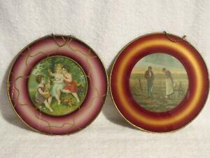 Victorian Antique Round Flue Covers Art Wall Hanging Prints Garden Children