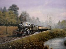 BEAUTIFUL PICTURE PAINTING TIME FOR THOUGHT GWR CRICCIETH CASTLE STEAM TRAIN